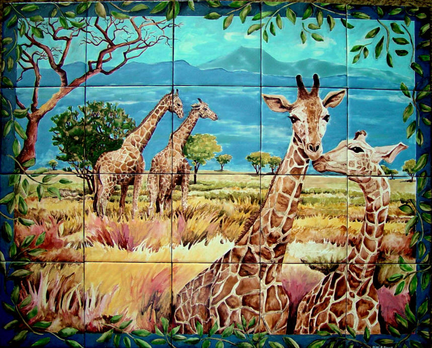 African tile mural for African mural painting