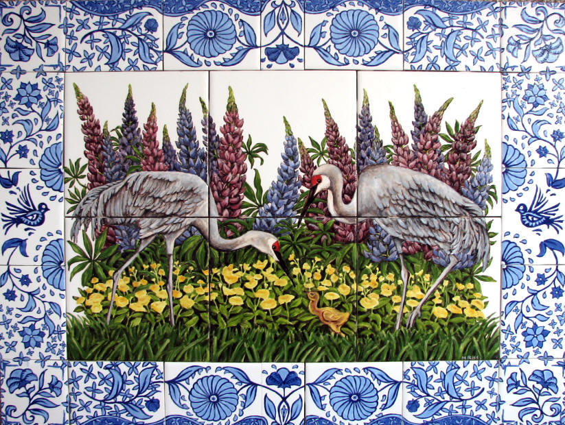 Recent work custom tile murals for Delft tile mural