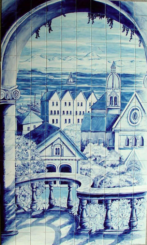 Arch with view tile mural for Delft tile mural
