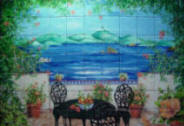 Tile Mural of Patio with Trumpet Vine